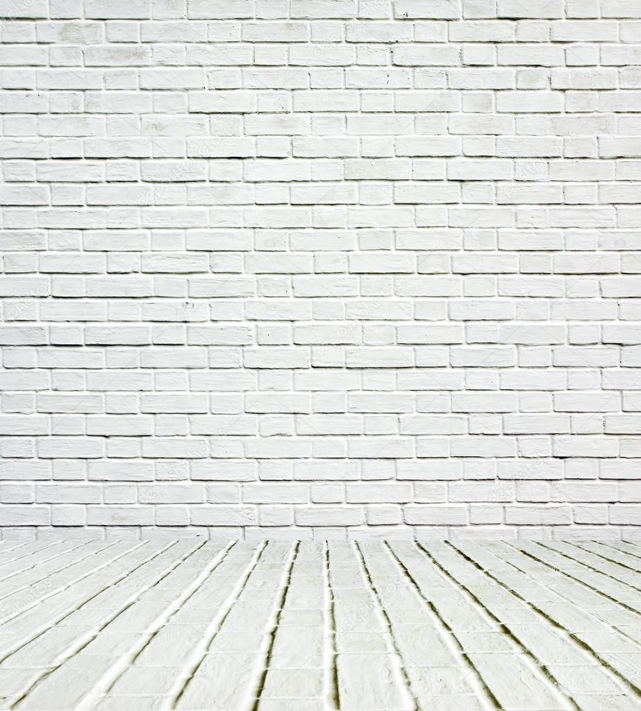 Interior Brick Wall Lights : Background of aged grungy textured white brick and stone wall with light wooden floor with ...