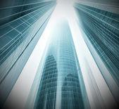 Panorámás és leendő széles szög kilátás az acél üveg magas emelkedik épület felhőkarcoló kereskedelmi modern városban jövő fény kék háttér. Üzleti koncepció, a sikeres ipari építészet