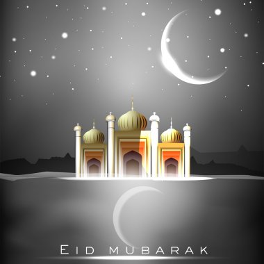 Eid Mubarak background with Mosque or Masjid and shiny moon. EPS