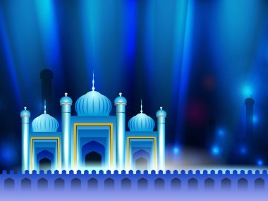 Beautiful Mosque and Masjid on shiny blue background. EPS 10.