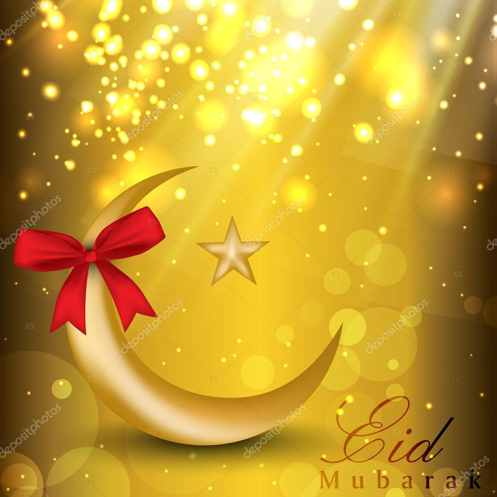 Eid Mubarak Background With Golden Moon Star And Red Ribbon Ep Vector Image By C Alliesinteract Vector Stock 12181316