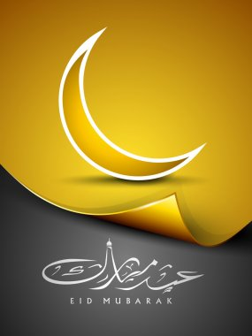 Arabic Islamic calligraphy of text Eid Mubarak with golden moon. EPS 10.