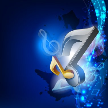 3D music notes on blue wave background. EPS 10.