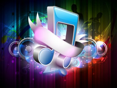 3D music notes with ribbon on colorful grungy background. EPS 10