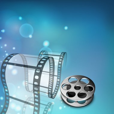 Film stripe or film reel on shiny colorful movie background. EPS
