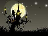 Halloween v úplňku noci pozadí s strašidelný dům a mrtvé