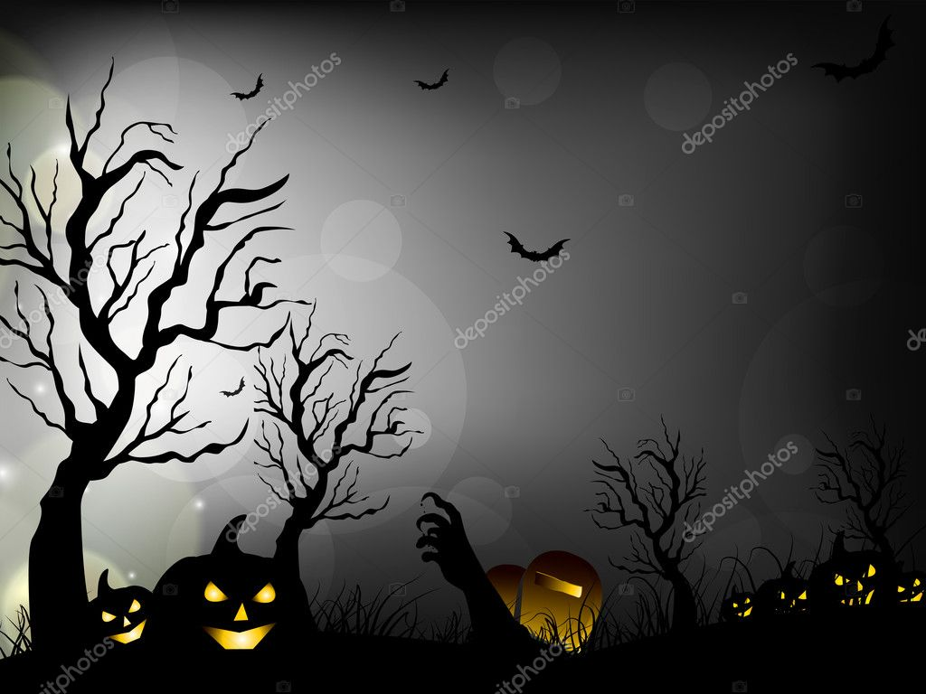 halloween night background with scary pumpkins bats and dead tr
