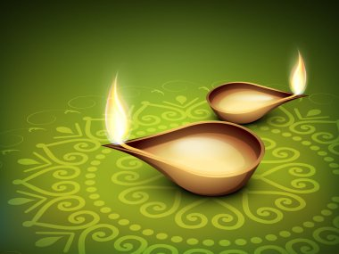 Beautiful illuminating Diya background for Hindu community festival Diwali or Deepawali in India. EPS 10. stock vector