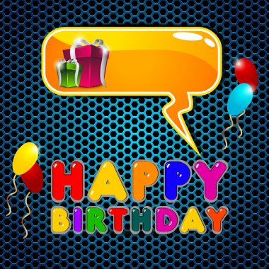 Colorful shiny balloon and gifts background with happy birthday