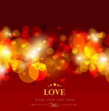 Shiny love background with red hearts, greeting or gift card for