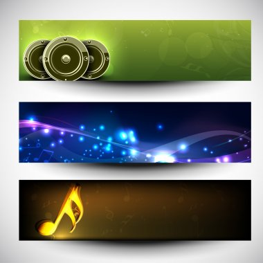 Musical website headers or banners. EPS 10.