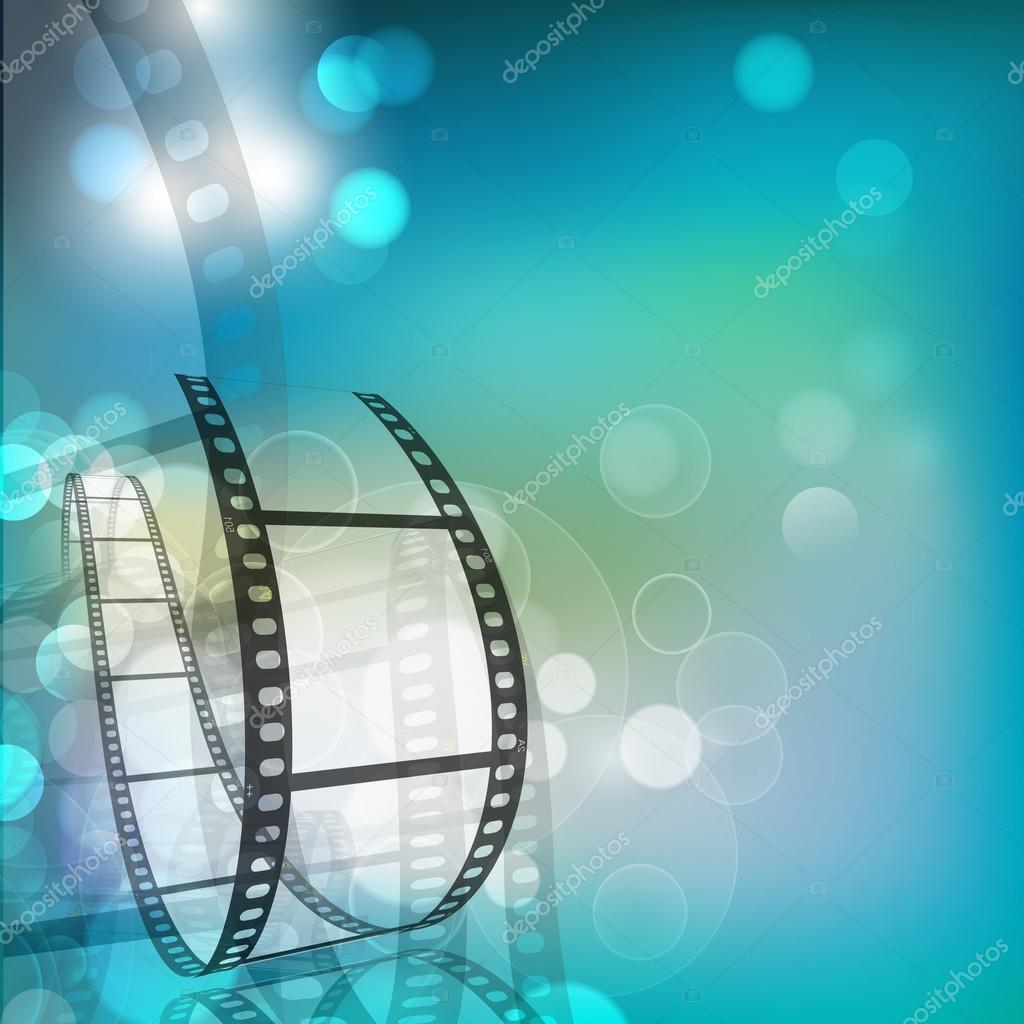 Film stripe or film reel on shiny movie background. EPS 10 stock vector