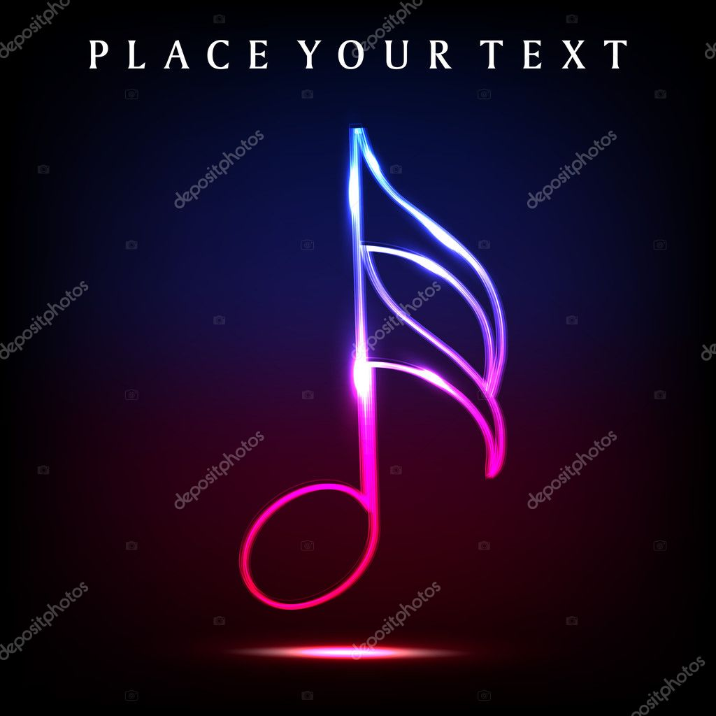 Colorful musical note with neon effect. EPS 10.