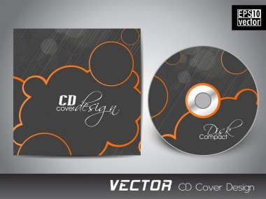 CD cover presentation design template with copy space and wave e