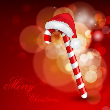 Christmas background with cane and Santa Hat. EPS 10.