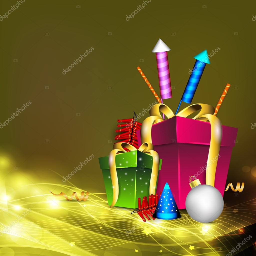 Greeting card for Diwali celebration in India with gift boxes an