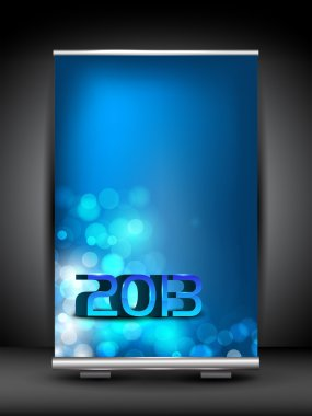 Happy New Year roll up stand banner. EPS 10.