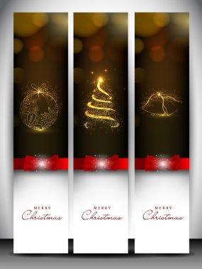 Merry Christmas website banner set decorated with snowflakes and