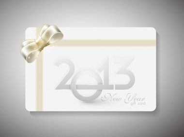 Gift card for Happy New Year celebration with red ribbon. EPS 10