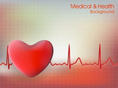 Cardiogram with red heart shape on blue background. EPS 10. stock vector