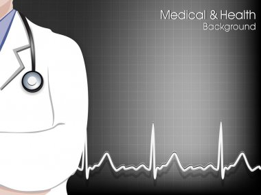 Health and medical background with Doctor (Male). EPS 10. clip art vector