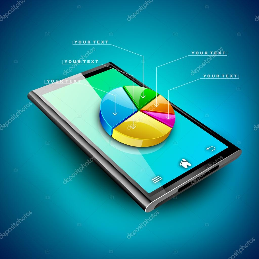 Abstract 3D pie chart background, Business concept on a tablet s