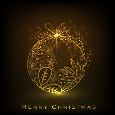 Decorative Xmas balls on shiny snowflakes background for Merry C