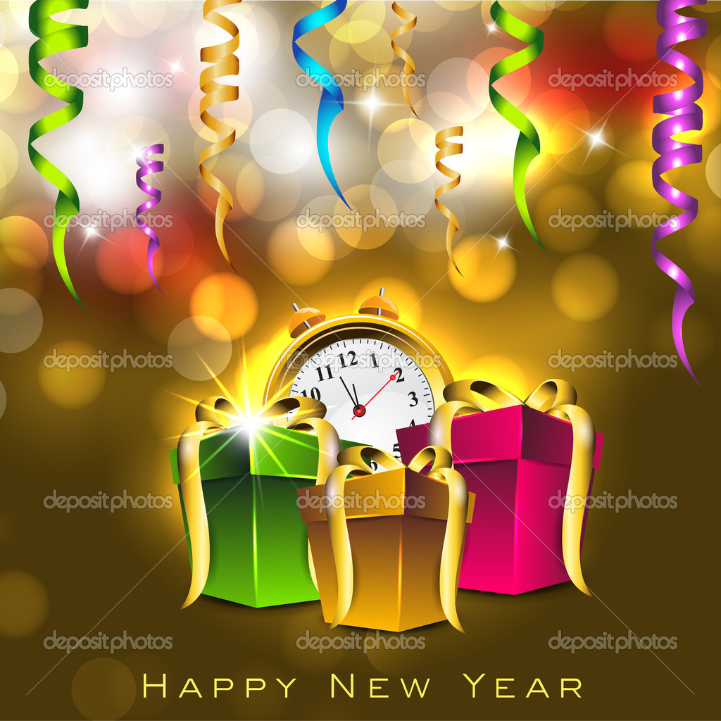 greeting card or gift card for happy new year celebration eps 1 stock vector