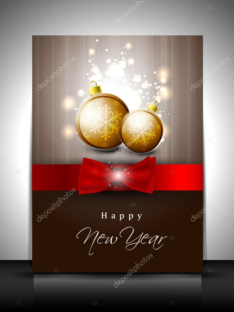 Greeting card or gift card for Happy New Year celebration. EPS 1