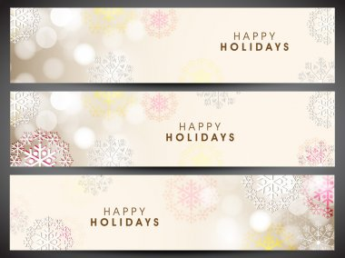 Happy holidays website headers or banners. EPS 10. clip art vector