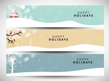 Happy holidays website headers or banners. EPS 10. stock vector