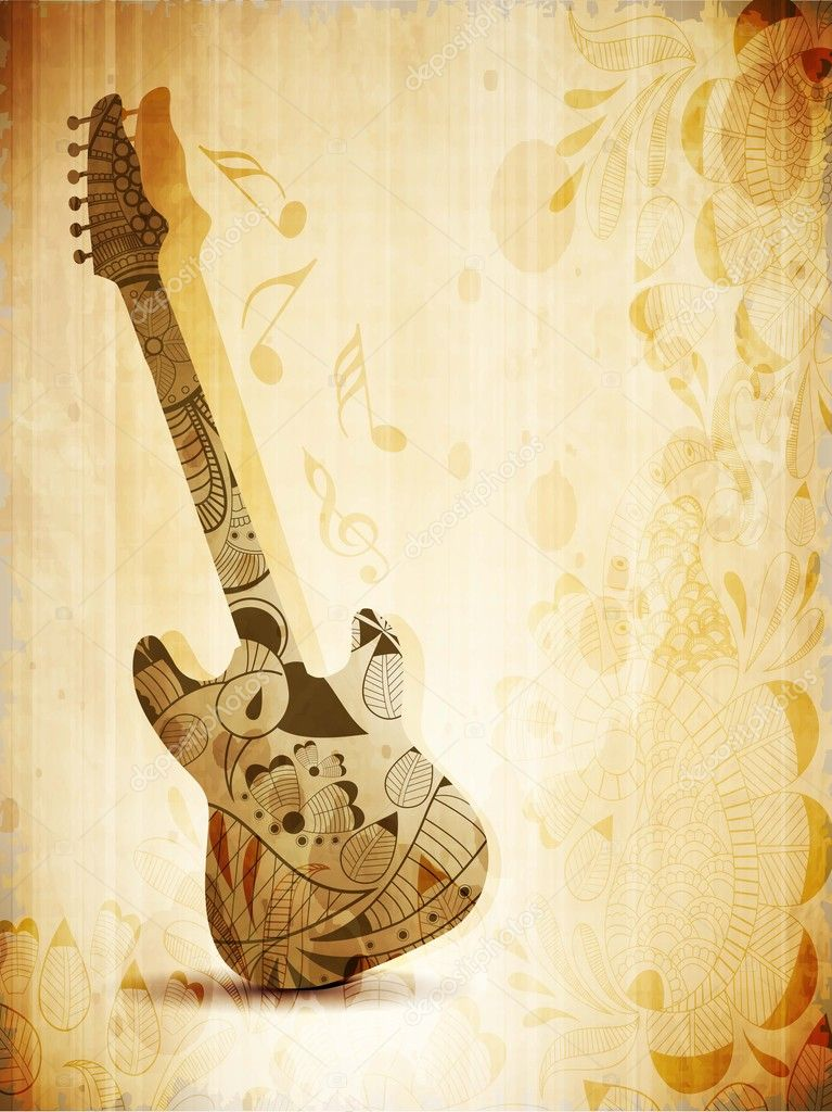 Music concept with guitar on vintage background. EPS 10.