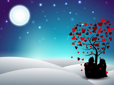Valentines Day winter background with sitting couple silhouette under the love tree. EPS 10. stock vector