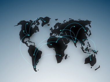 Abstract international business connection background, showing o