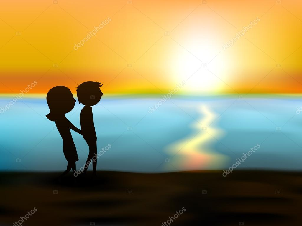 Happy Valentines Day sunset love background with silhouette of y