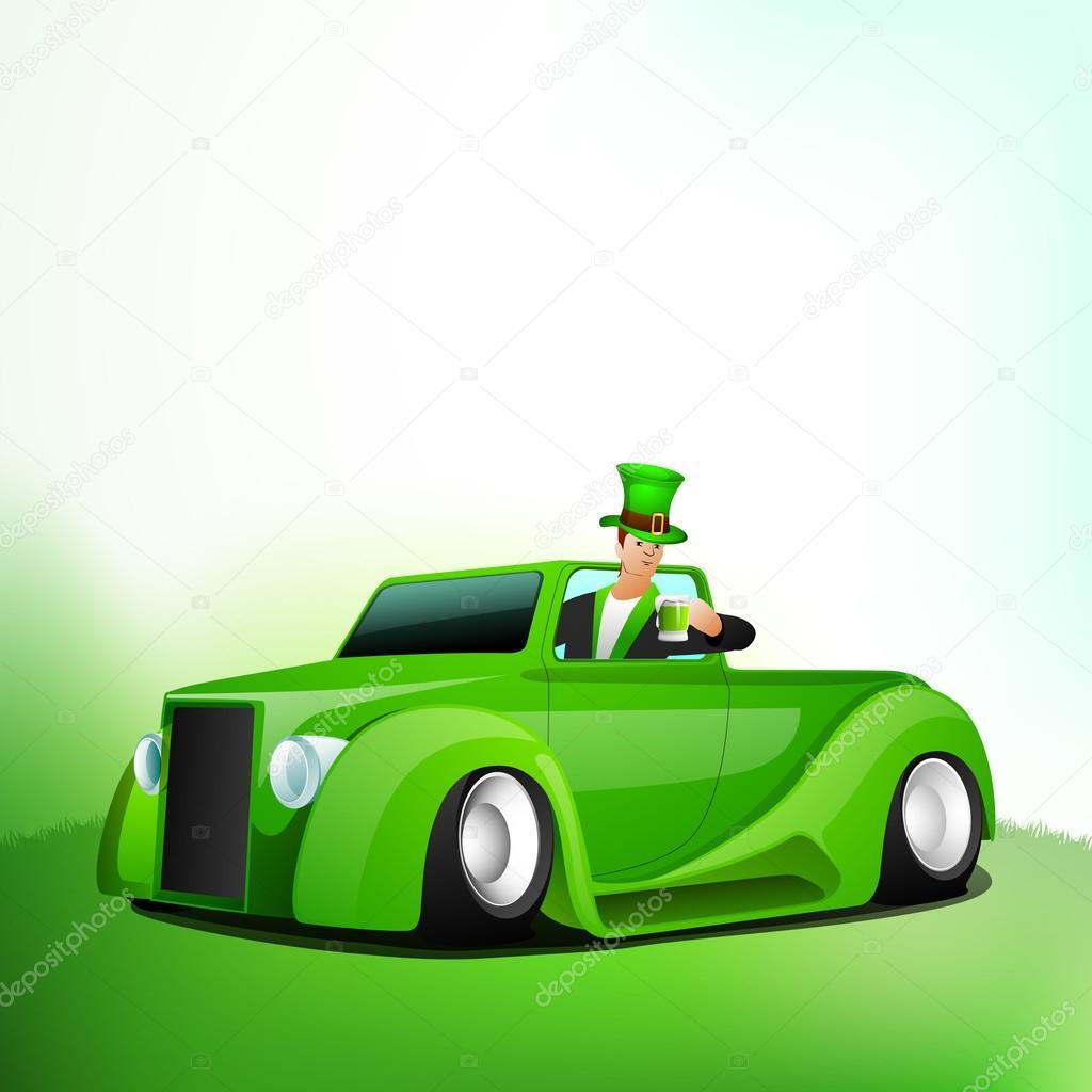 Irish men holding green beer mug sitting in St. Patrick's car .