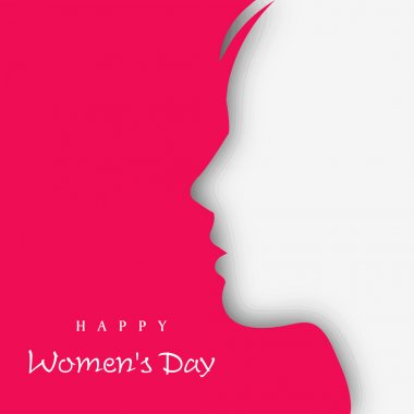 White silhouette of a women on pink background for Happy Women's