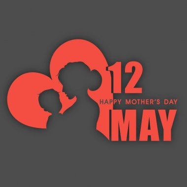 Silhouette of a mother and her child with text 12th May for Happy Mothers Day celebration. clip art vector