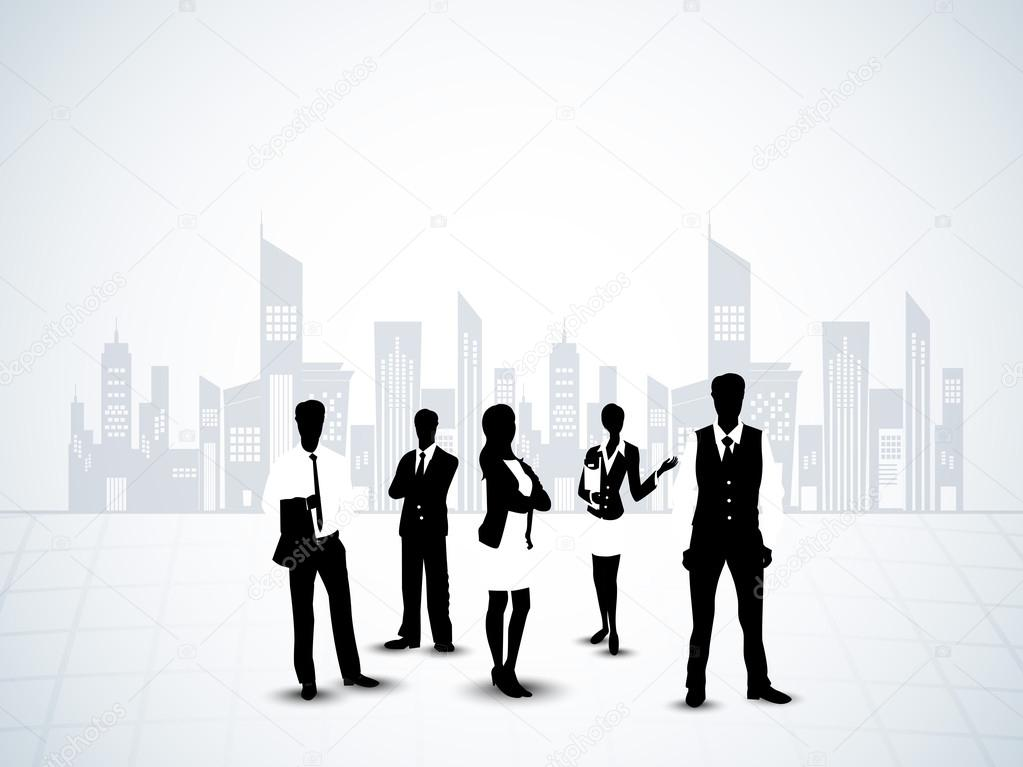 Silhouette of business persons on abstract urban city background