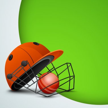 Sports concept with cricket helmet with ball on abstract green b