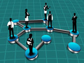 Fotografie Silhouette of business persons standing on networking connection