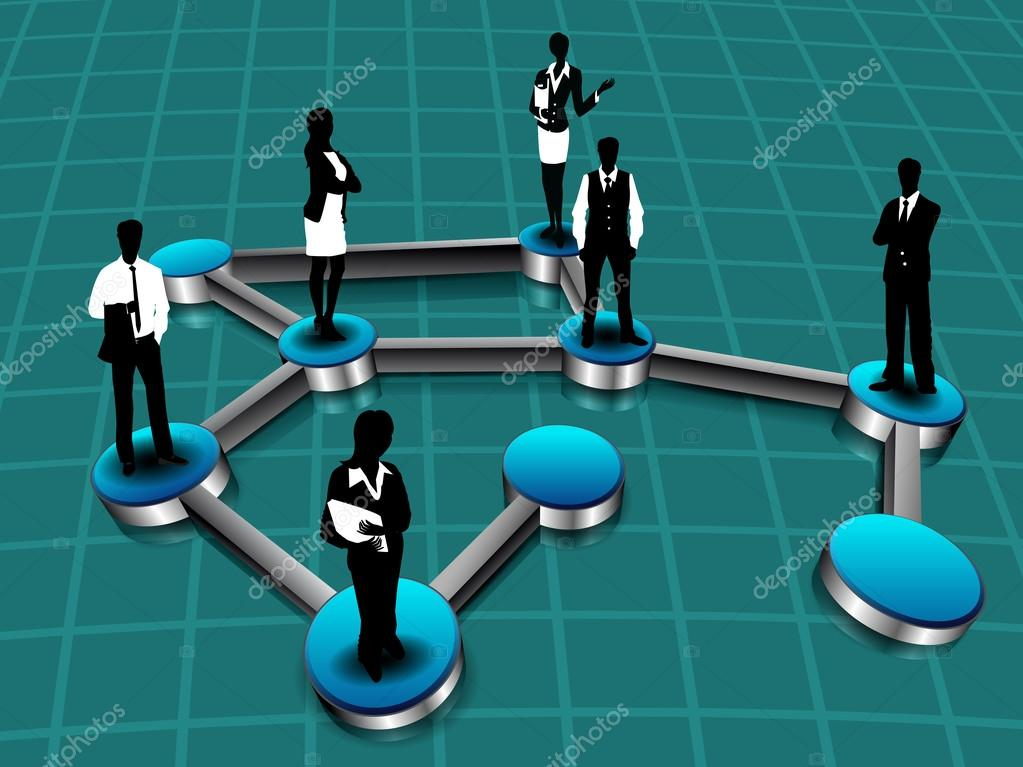 Silhouette of business persons standing on networking connection