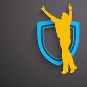 Sportovní pozadí s hráčem kriketu slaví vítězství na win