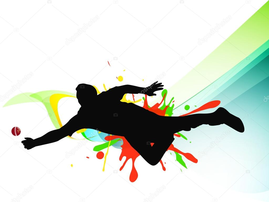 Cricket Vector Background Stock Image: Silhouette Of Cricket Player Trying To Catch The Ball On