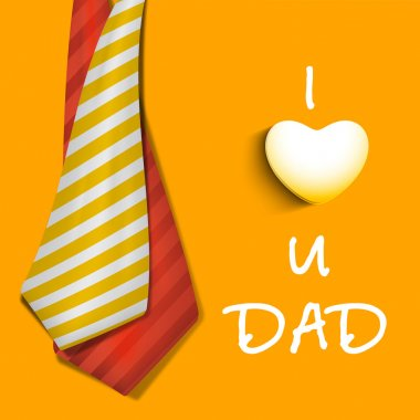Happy Fathers Day concept banner, flyer or poster design with neckties and text I Love You Dad on yellow background. stock vector