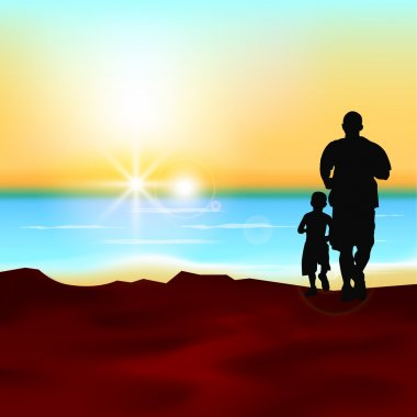 Silhouette of a father and his son running at sea side in eveni