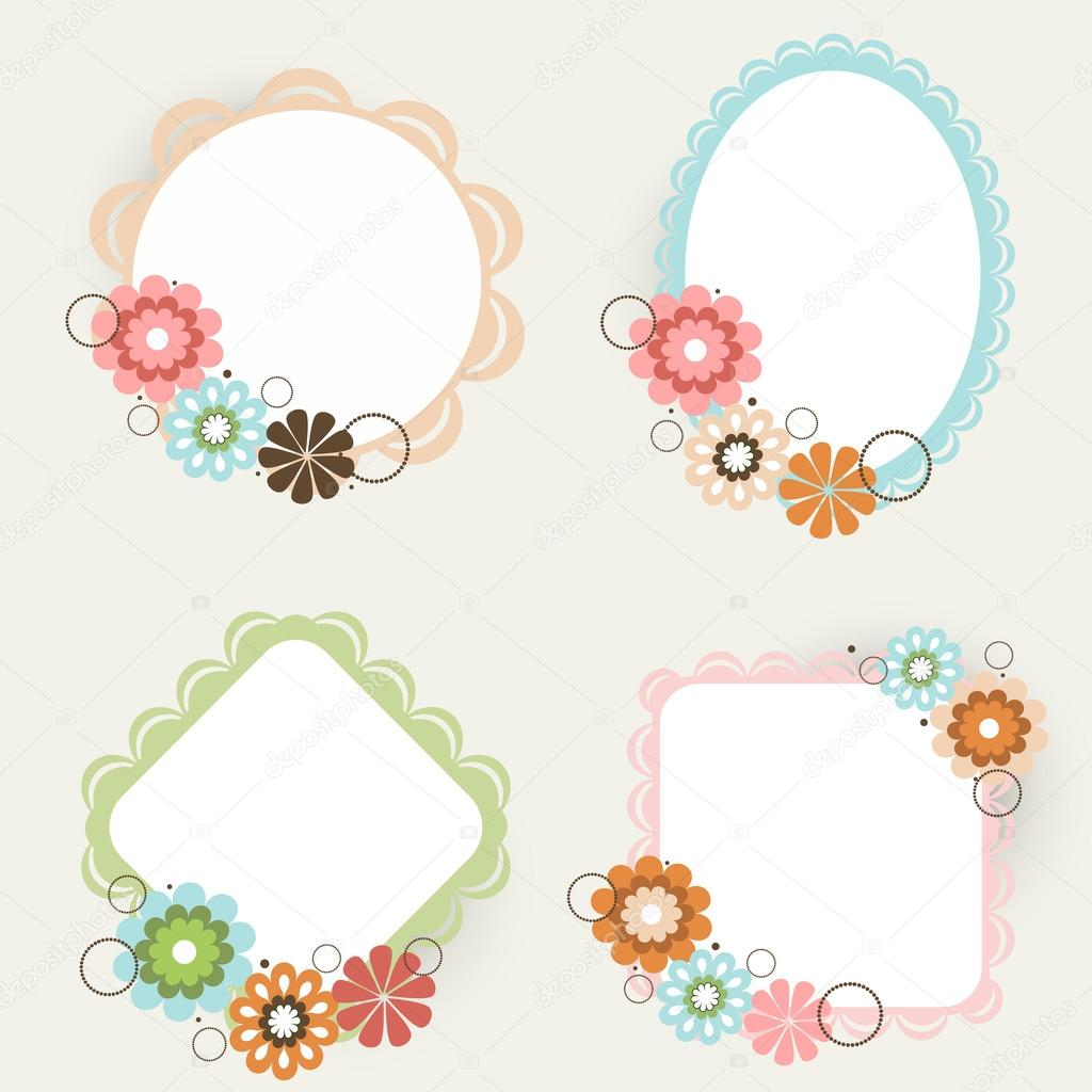 Beautiful floral decorated photo frames in different shapes beautiful floral decorated photo frames in different shapes stock vector jeuxipadfo Images