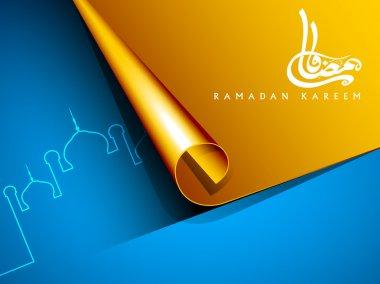 Arabic Islamic text Ramadan Kareem or Ramazan Kareem on golden f