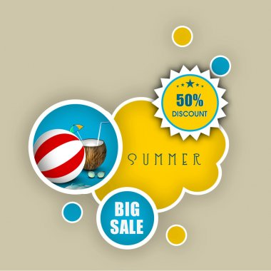 Summer Holidays sale and discount banner, poster or background.