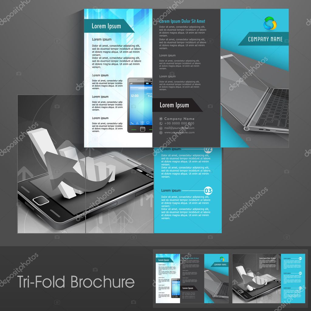 Professional business three fold flyer template corporate broch – Three Fold Flyer Template